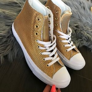 Converse Shoes - NEW ⚜️ CONVERSE WOMENS LEATHER GOLD ALLSTAR SZ 9